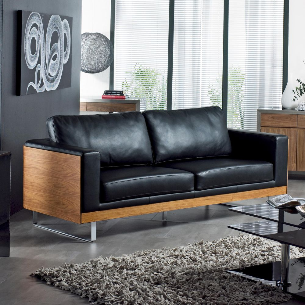 Dwell Firenze Leather Three Seater Sofa Black