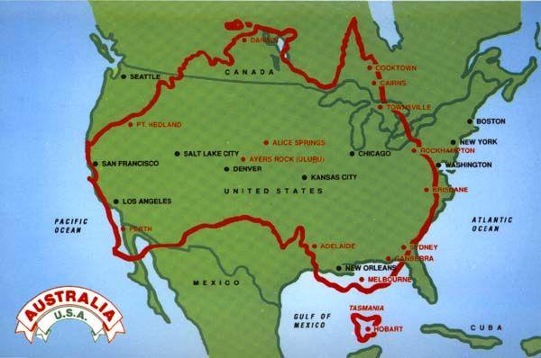 The size of Australia vs. USA | Australia map, Australian ...