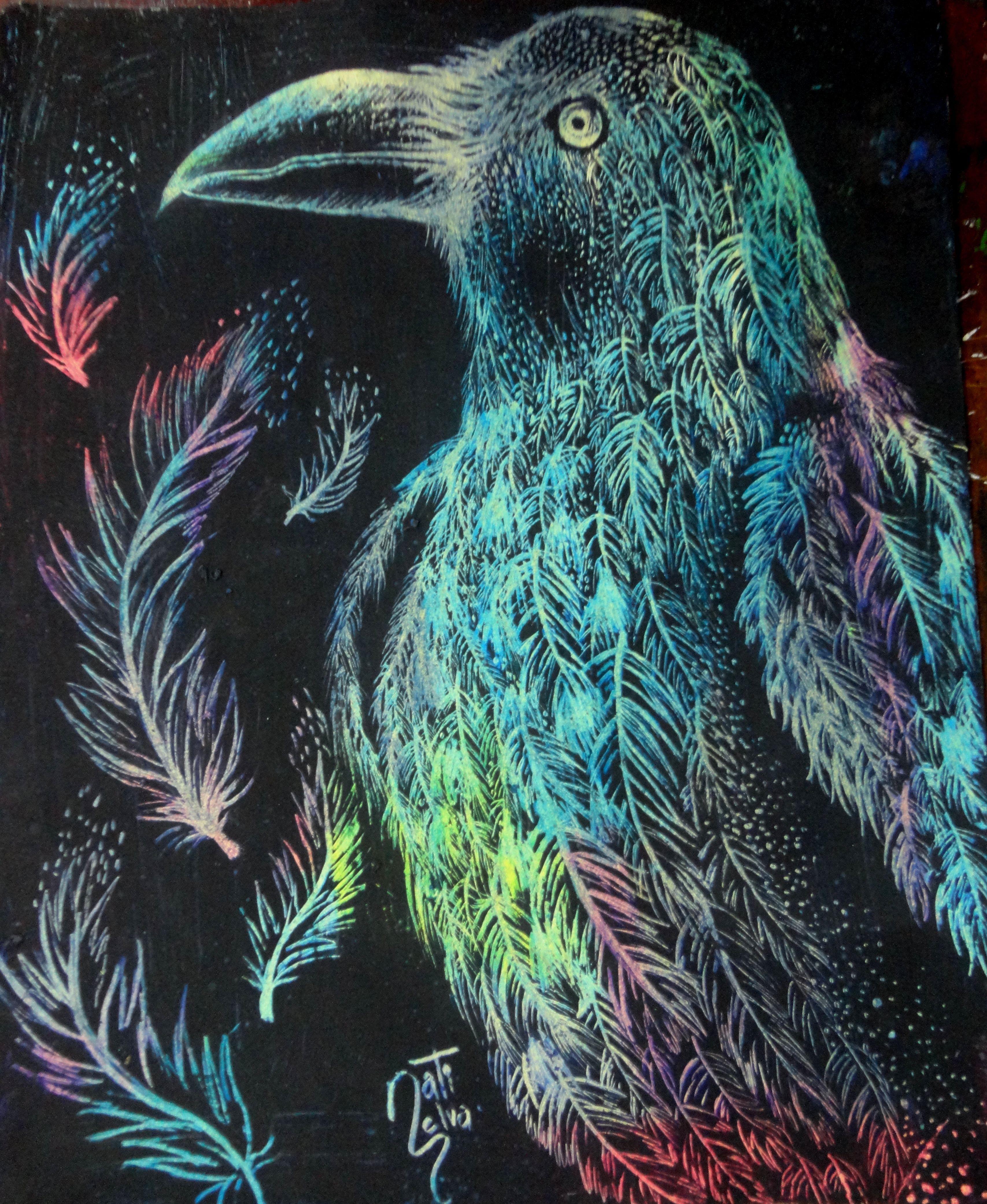 #plumas, #cuervo, #color, #dibujo, #grabado, #mezzo dibujo/ #feathers, #crow, #color, #drawing, #printmaking, #drawing mezzo #raven #coloring #feathers #drawing #ave