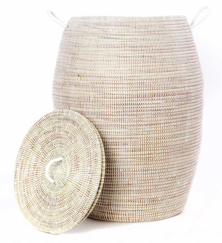 Senegalese Tall White Bongo Basket With Lid Woven Hamper Laundry Hamper African Baskets