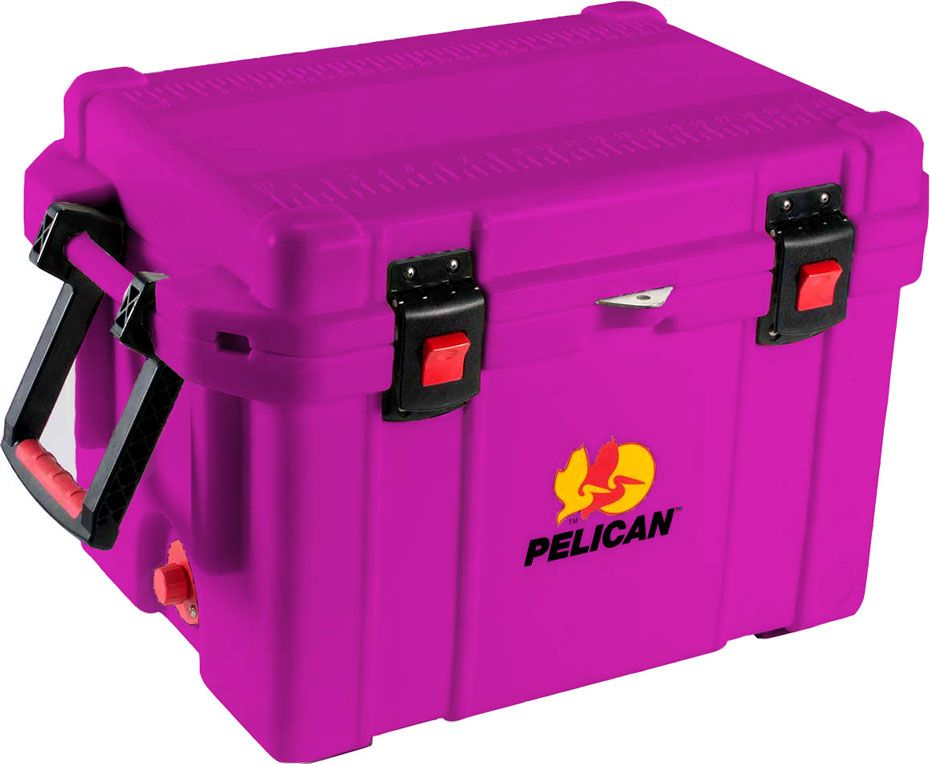 "35 Quart Purple Cooler: The quality you've come to expect from Pelican now also matches your favorite things in life! For the color coordinated obsessed, we've got you covered. Up to 10 days ice retention*, freezer grade gasket, 2"" polyurethane insulation, Guaranteed for life, Assembled in the USA, Bear resistant certified from the Interagency Grizzly Bear Committee."