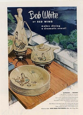 Vintage ad for Bob White pattern by Red Wing Bob White are my grandmau0027s dishes. We use them every Thanksgiving : red wing dinnerware patterns - Pezcame.Com