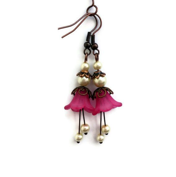 Lucite Flower Earrings Valentines Day Jewelry Dangle Drop, Gemstone Jewelry Copper  Hot Pink White Pearl Stamens, Gift for Her