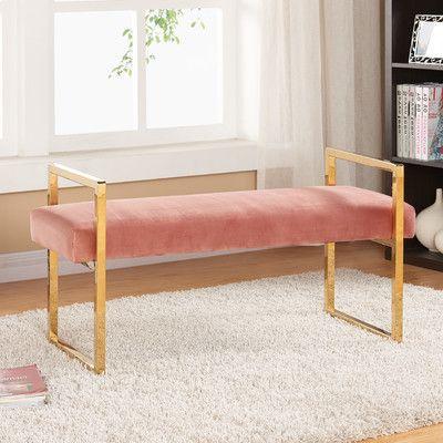 Meridian Furniture USA Olivia Upholstered Bedroom Bench Upholstery Color:  Pink
