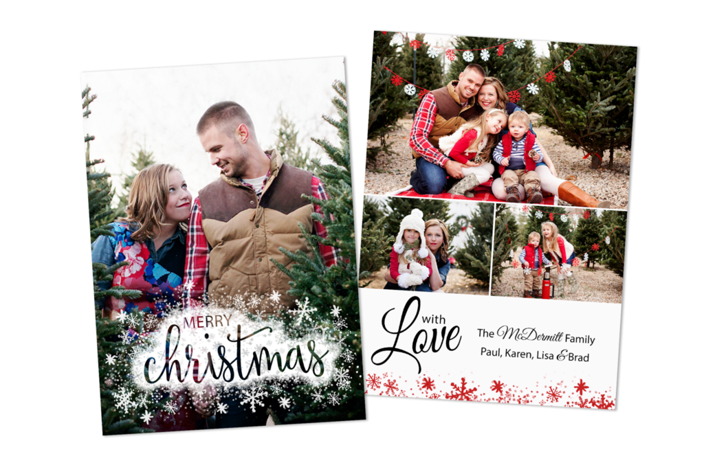 Christmas Card Photoshop Template by Posy Prints Design - Snowflakes ...
