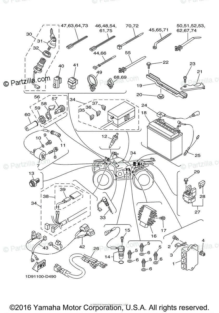 Wiring Schematic For 2006 Yamaha Kodiak 450 In 2020 Kodiak Yamaha Diagram