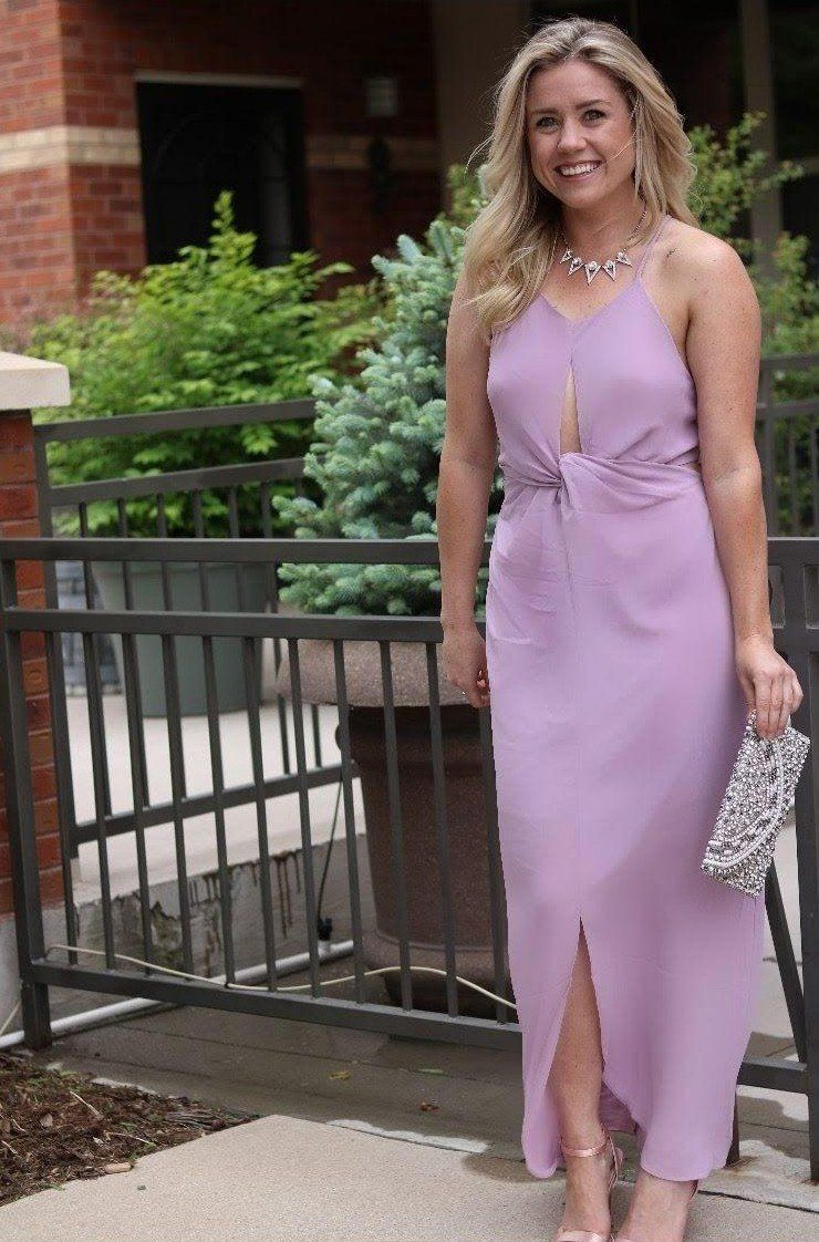 Wedding Guest Outfit Full Length Lavender Dress Complete Outfits Lavender Dresses Wedding Guest Outfit [ 1122 x 740 Pixel ]