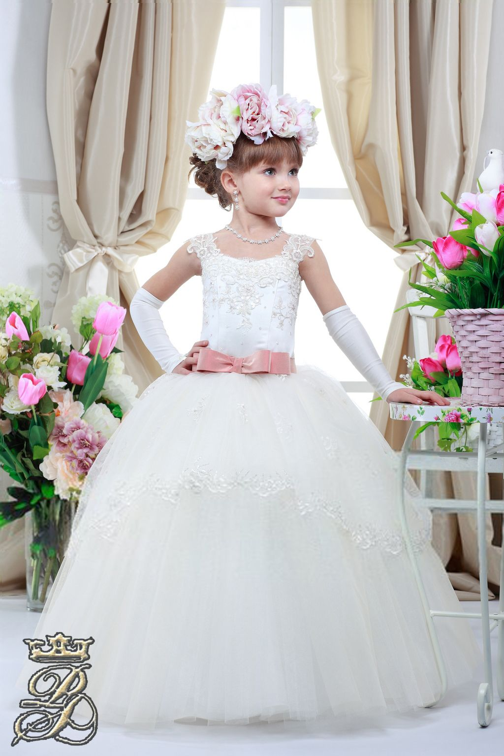 3e1d57f6ae352 Gorgeous dress for your little princess! Its features include lace bodice  with floral applique, colored satin ribbon, layered tulle skirt, beautiful  satin ...
