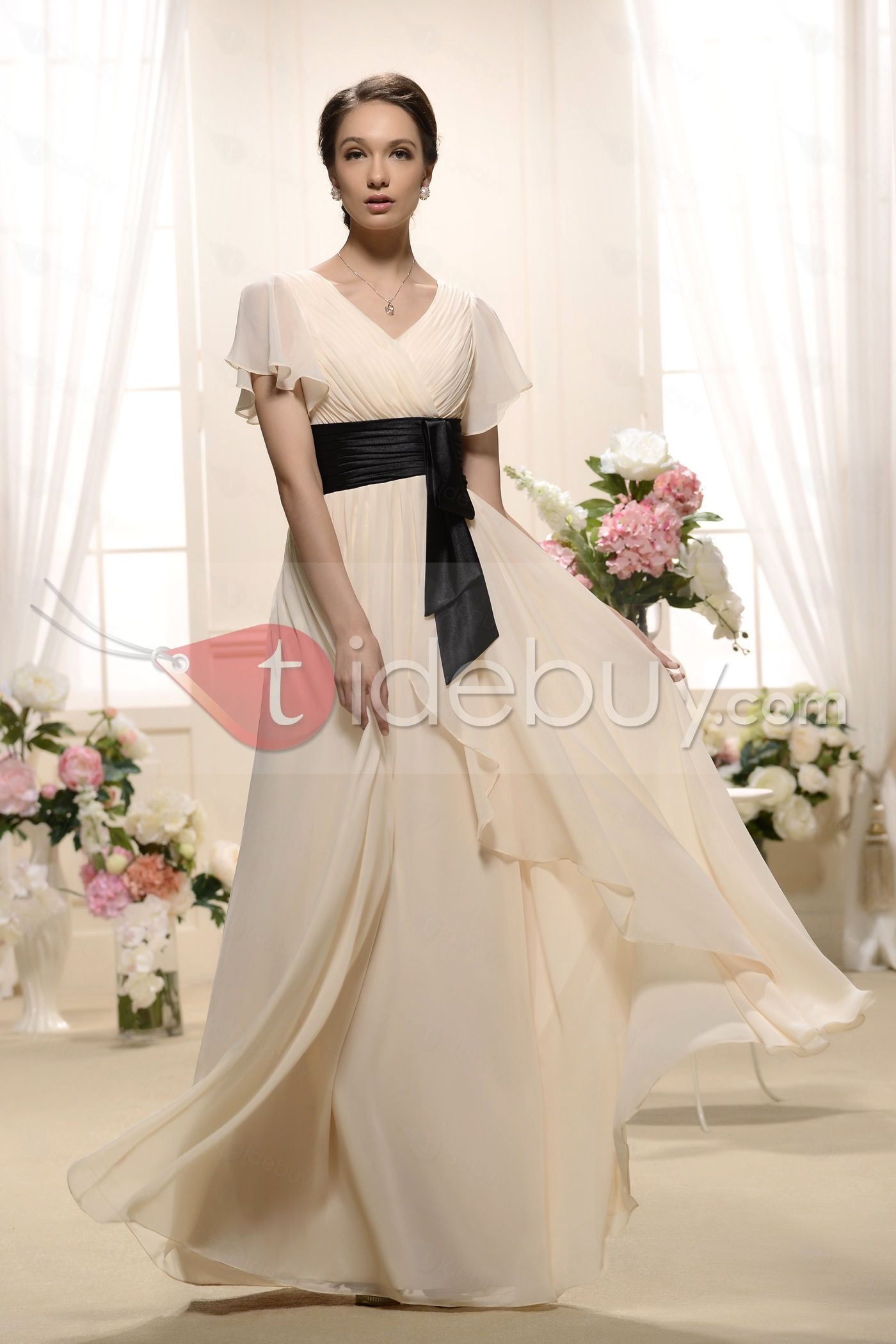 Unique ruffles aline vneck shortsleeves floorlength bridesmaid