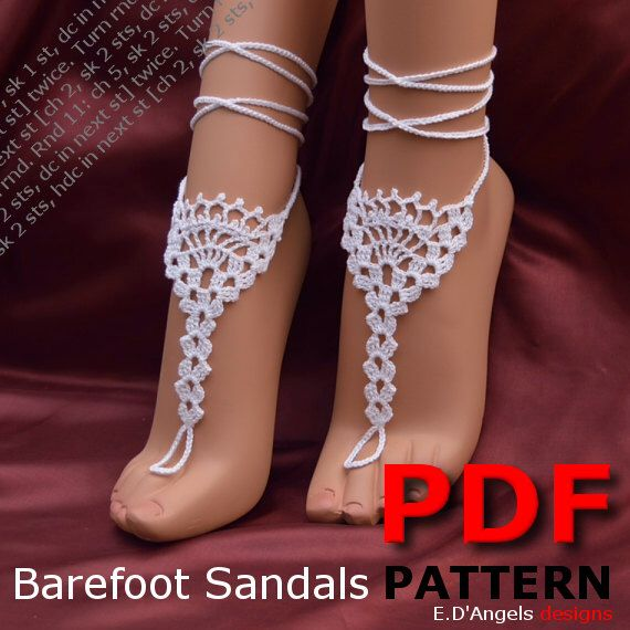 Crochet Pattern, Barefoot Sandals Pattern, Barefoot Wedding Pattern ...