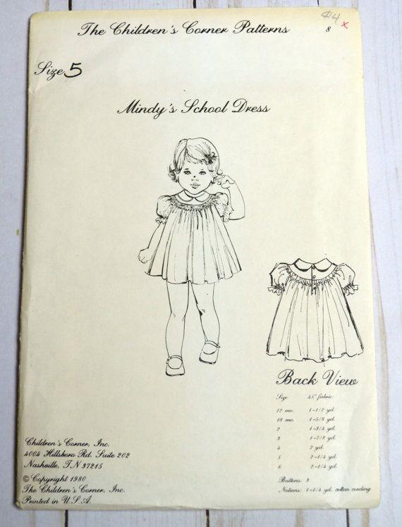 The Children\'s Corner Patterns Mindy\'s School Dress Size 5 UNCUT ...