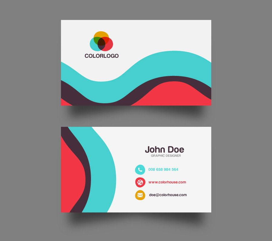 Flat Business Card Template | Card templates, Business cards and ...