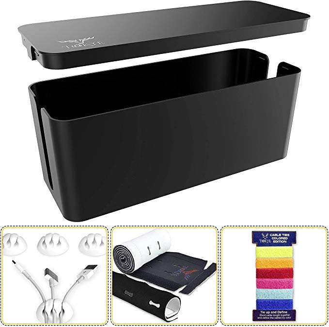 Amazon Com Cable Management Box Cord Organizer And Cover With Cable Kit Desk Wall Mounted Tv Video Cable Management Box Cord Organization Wall Mounted Tv