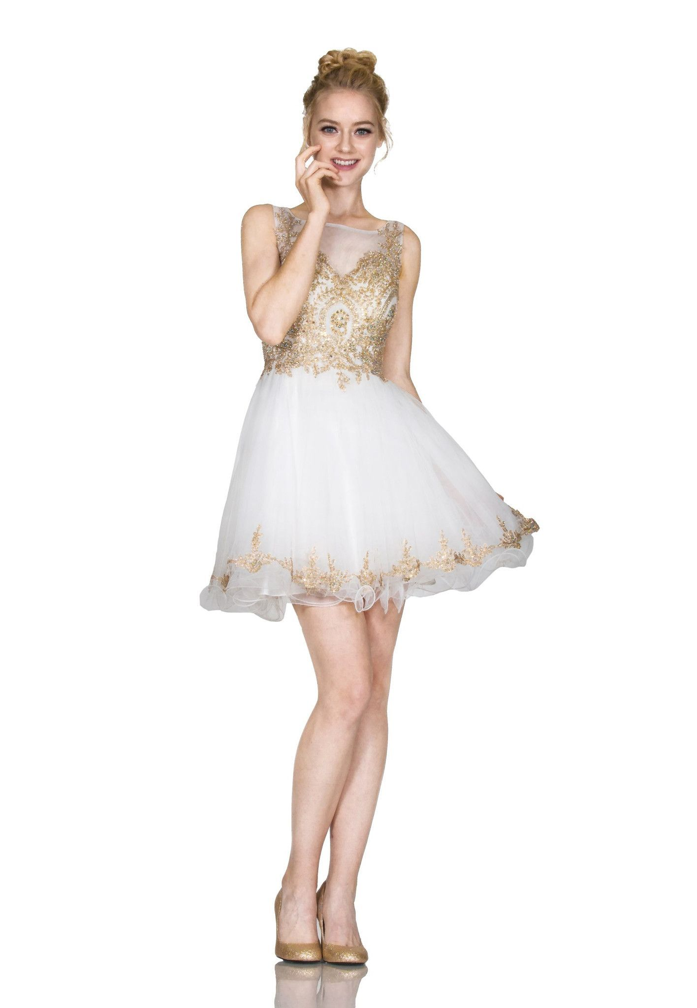 252fb64952 Short Ruffled Illusion Dress with Gold Applique by Cinderella Divine 8932