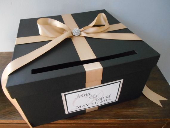 Black Wedding Card Box With Champagne Ribbon You Customize Colors Large 14 Inch Box With Ribbon Rhin Card Box Wedding Champagne Wedding Card Box Wedding Cards