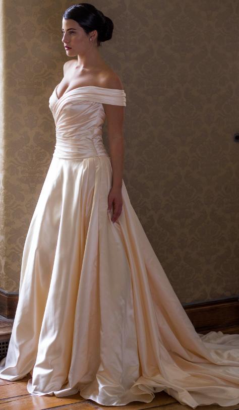 Wedding Dress Veronica By Augusta Jones 50 S Style Off The Shoulder Luxe Satin Simple Ba Wedding Dresses Classic Wedding Gowns Designer Wedding Dresses