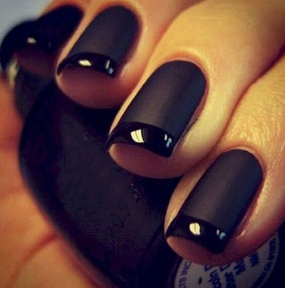 uñas negro mate con francesa brillante | uñas | Pinterest | Uñas ...