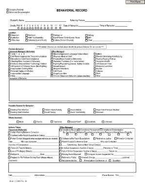 Blank School Discipline Office Referral Form Fill Online