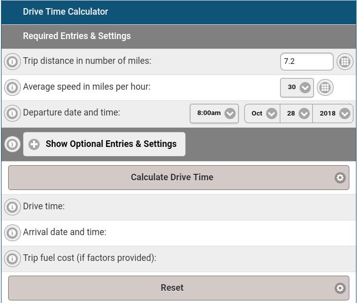 Drive Time Calculator Road Trip App Get Distance Time ETA Map Route