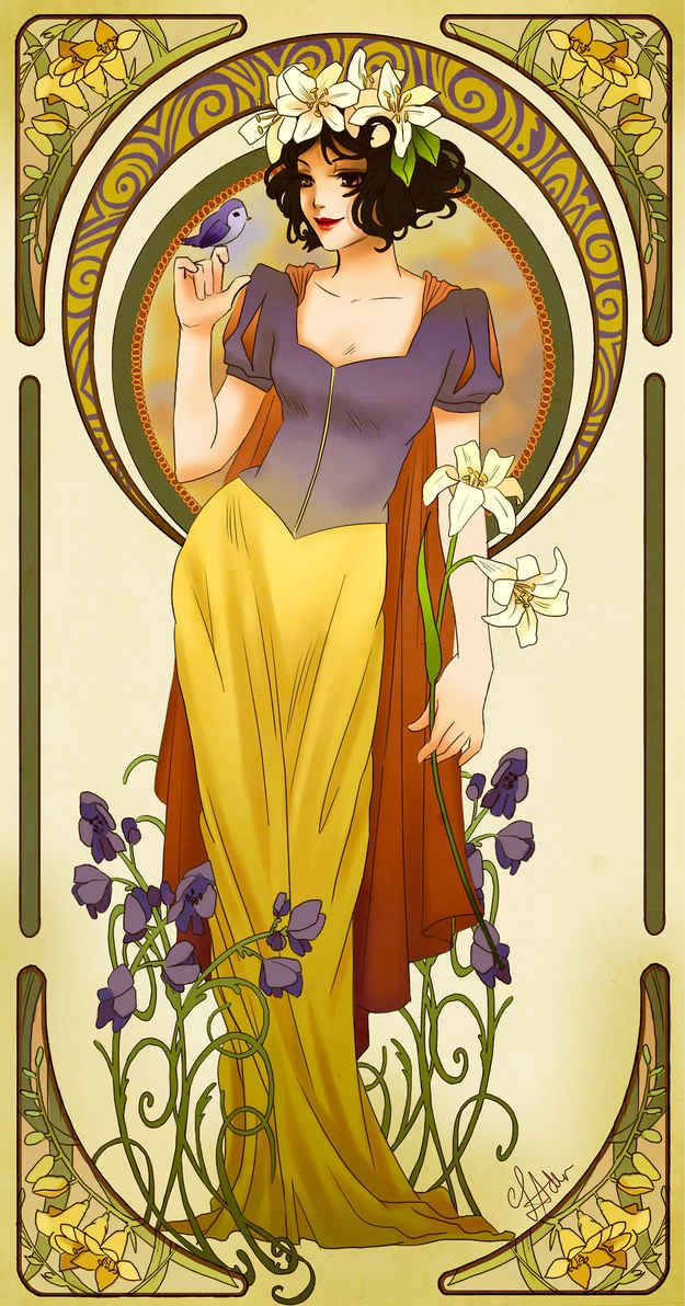 Wow!! I really want to be Snow White now!!  Snow White, Snow White | These Mucha Inspired Disney Princesses Are Stunning