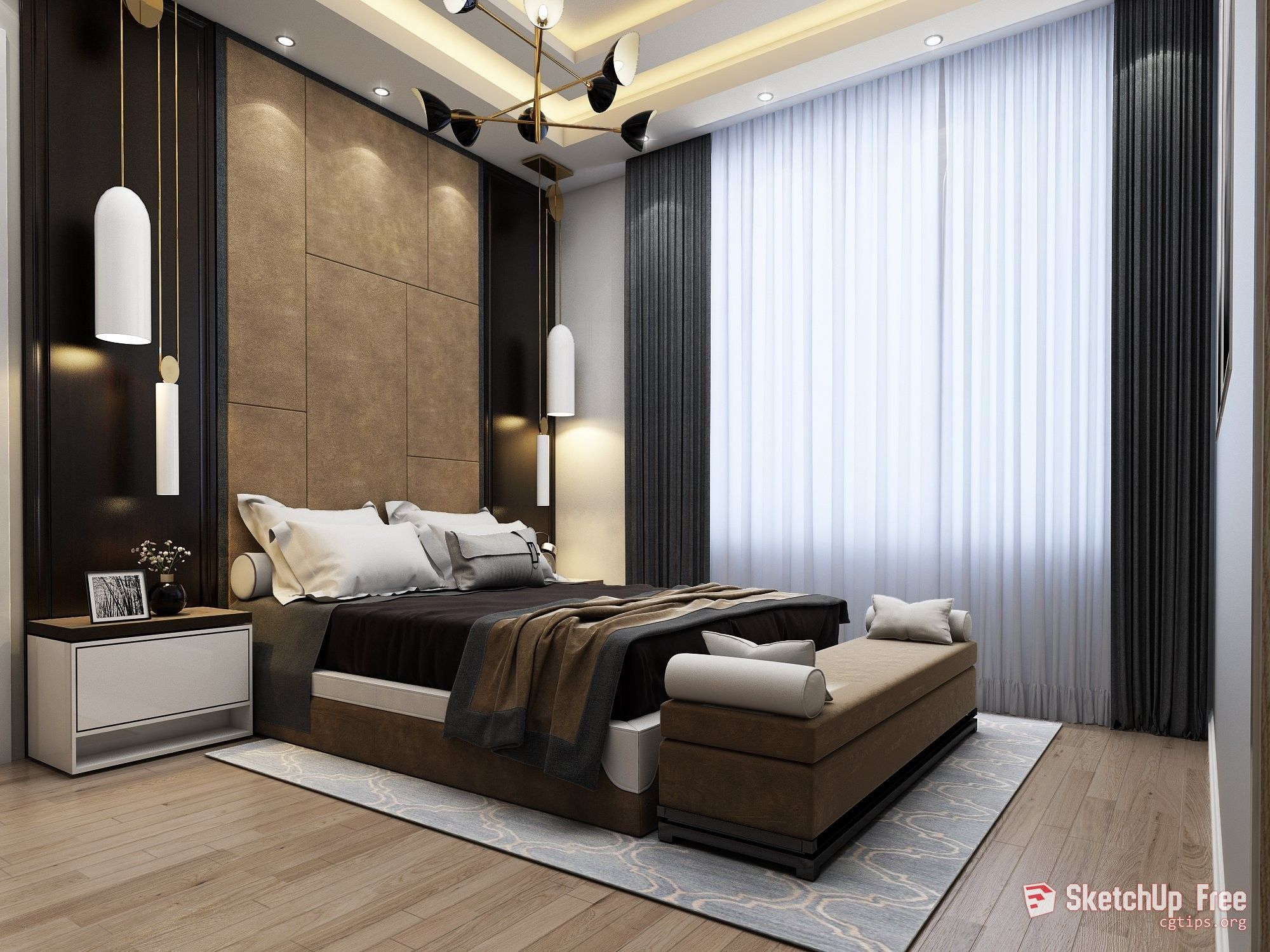 1942 Interior Bedroom Scene Sketchup Model Free Download Modern