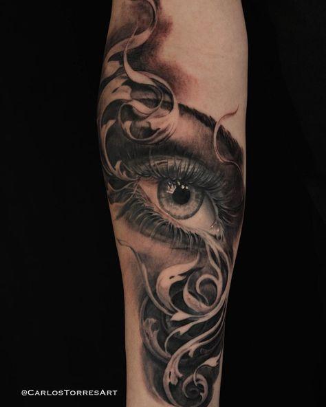Today's effort. Eye and filigree. Done using @inkeeze tattoo products. #inkeeze #darktimesmachines #carlostorres