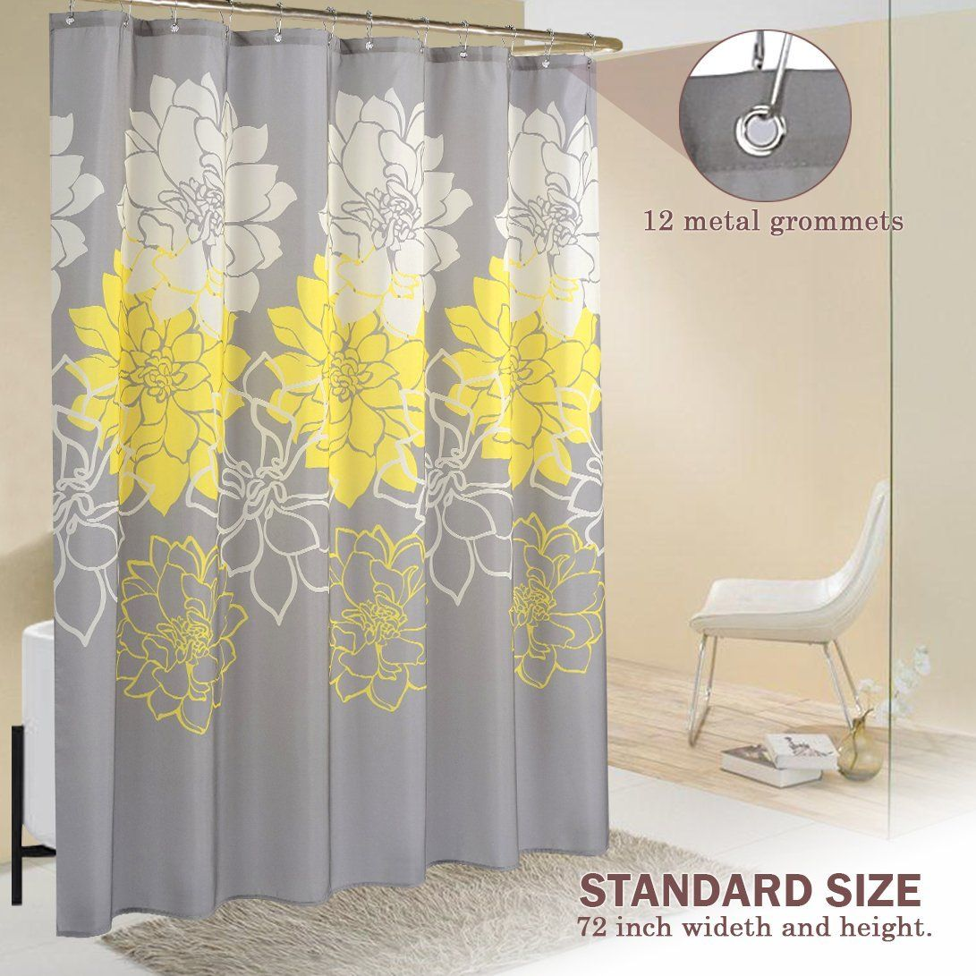 Wimaha peony flower fabric shower curtain yellow and greyx