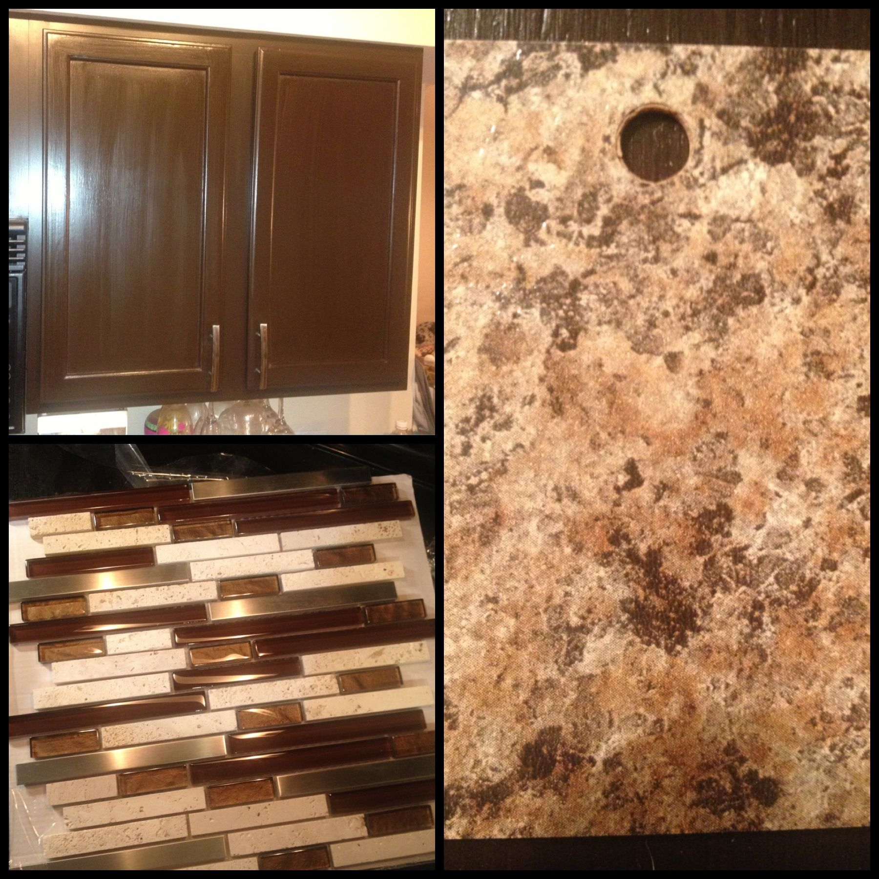 New kitchen color pallet. Cabinets are Espresso, backsplash is from ...