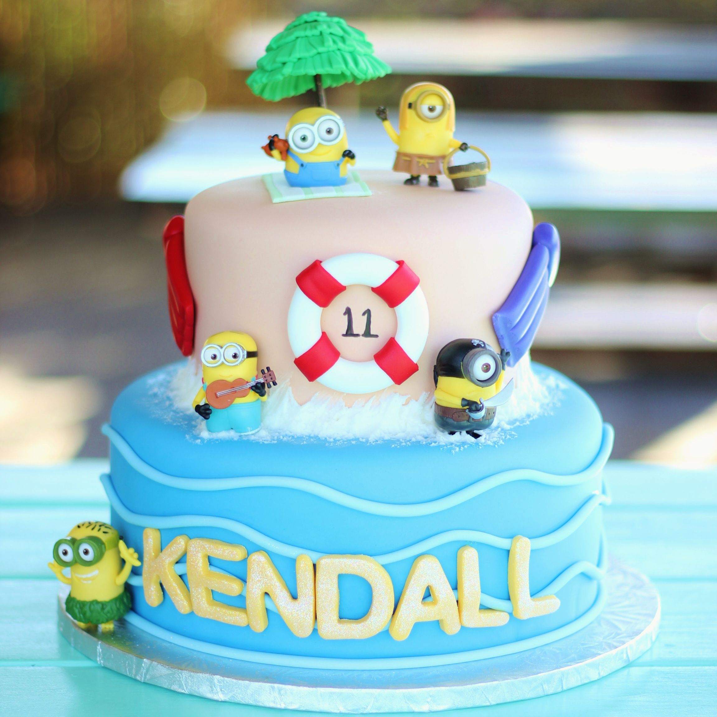 Fabulous Minion Pool Party Cake With Images Pool Party Cakes First Funny Birthday Cards Online Barepcheapnameinfo