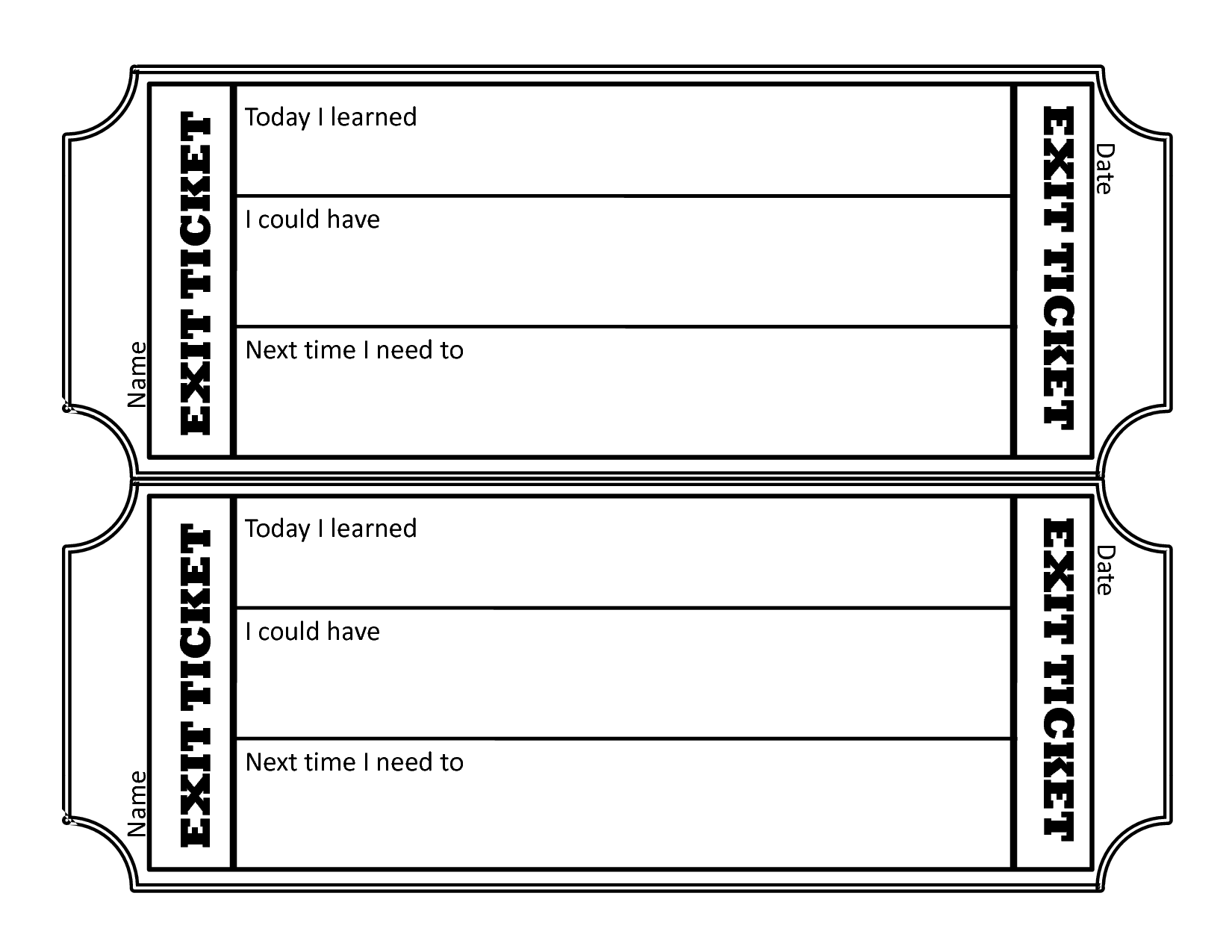 graphic about Printable Exit Tickets named actual physical education and learning Exit Ticket Template Printable - Bing