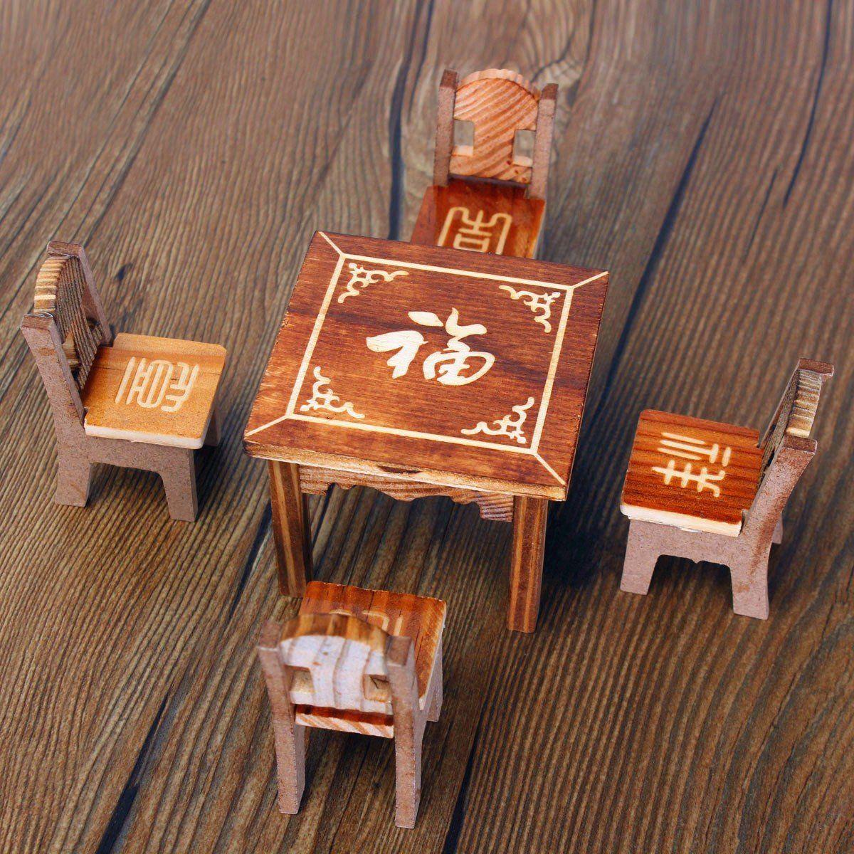 BARGAIN HOUSE Miniature Table Miniature Chair Mini Furniture Miniature  Furniture Set Wooden Furniture Set Applies To ...