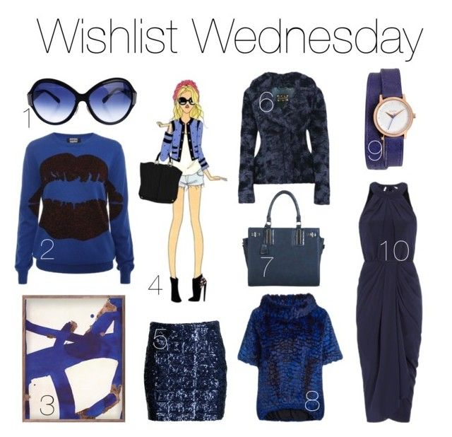 """Wishlist Wednesday No.35"" by stylebycharlotte on Polyvore featuring Mode, H&M, Oliver Peoples, Nixon, DwellStudio, bleu, Lena Hoschek und Blue"
