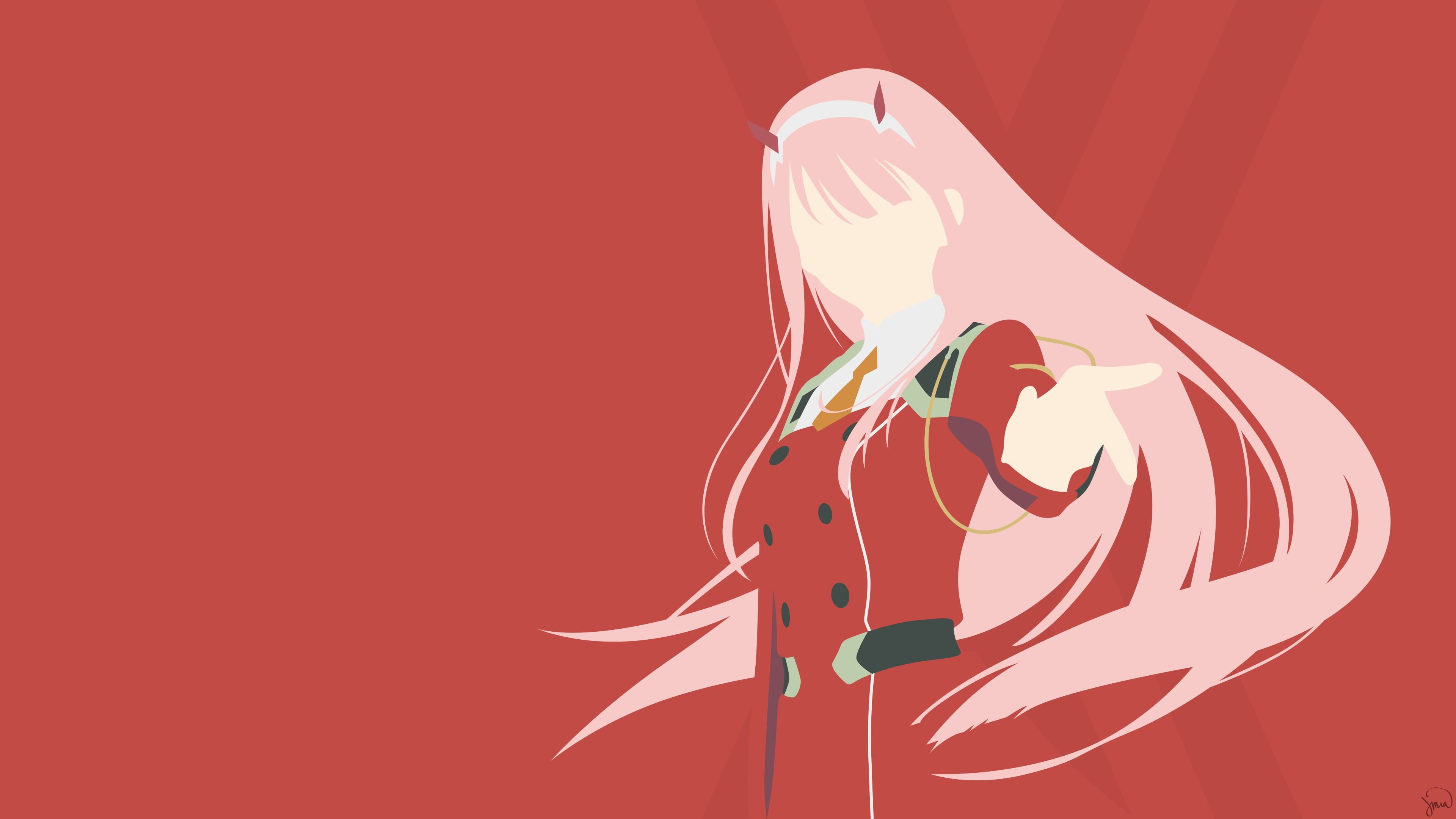 Greenmapple17 Darling In The Franxx Zero Two Darling In The Franxx Minimalism Simple Background Anim Darling In The Franxx Zero Two Anime Artwork Wallpaper