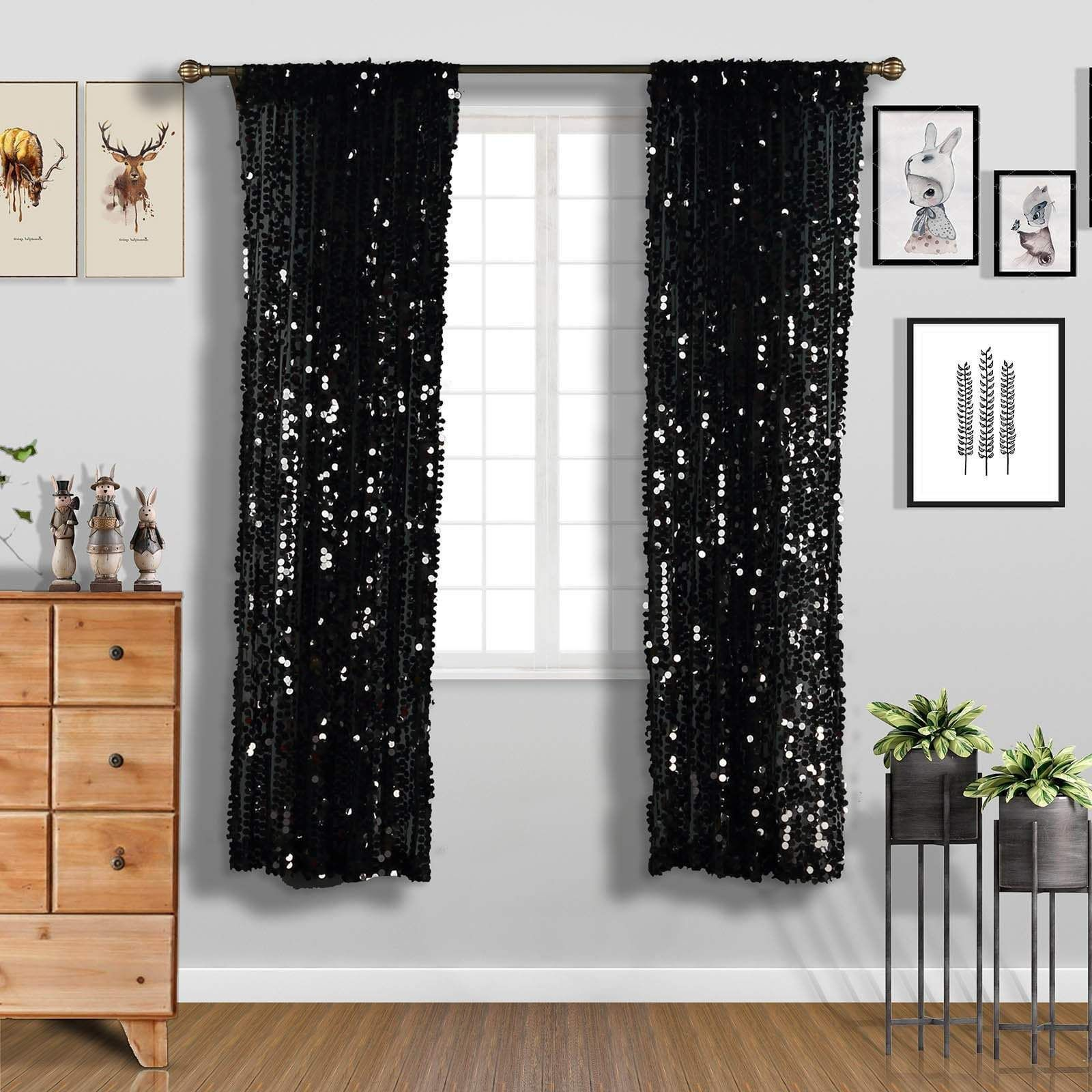 2 Pcs 52 X 84 Big Payette Sequin Window Curtains Drapes Panels