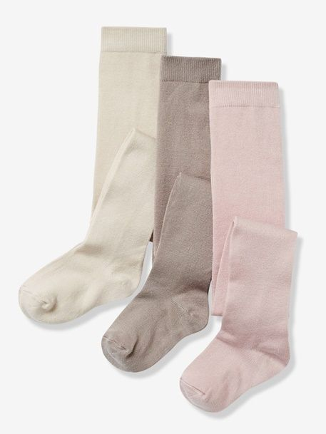 Lot de 3 collants jersey b/éb/é fille