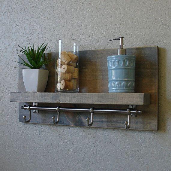 Brushed Nickel Bathroom Shelving Unit: Simply Modern Rustic Bathroom Shelf With Satin Nickel Rail