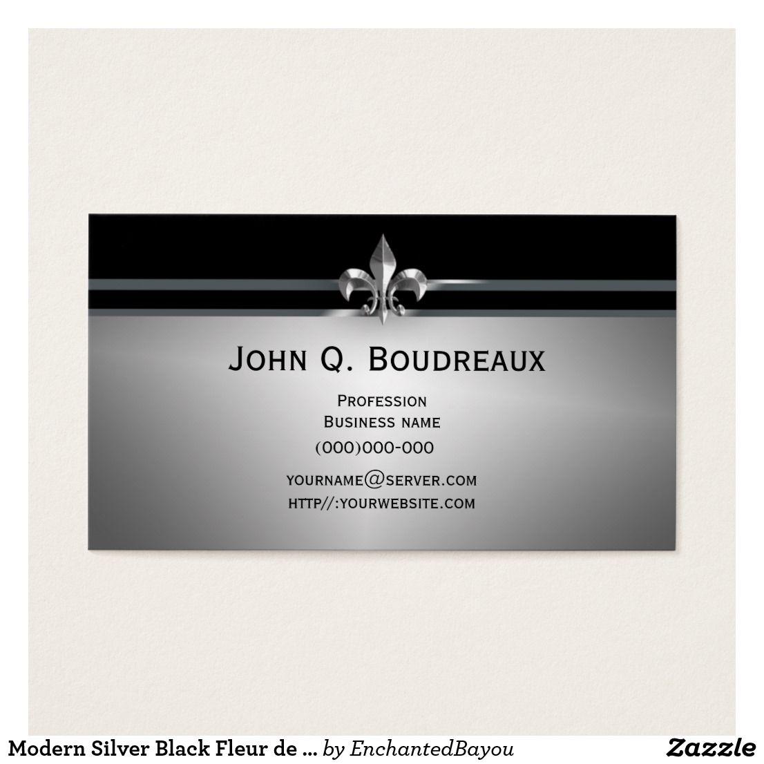 Modern Silver Black Fleur De Lis Business Card Zazzle Com Cards Business Cards Fleur De Lis