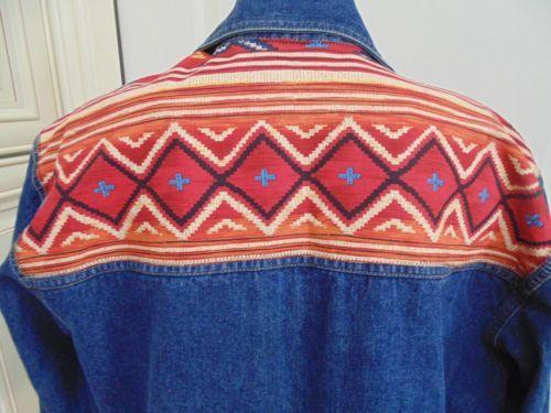 New Cabin Creek Southwest Design Cotton Denim Long Sleeve Shirt Jean Jacket M