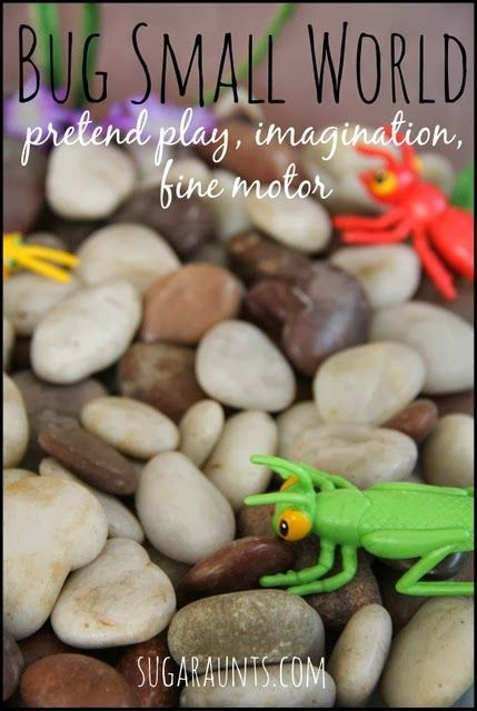 Bug small world sensory bin for pretend play, imagination, and fine motor.  {sugaraunts.com}