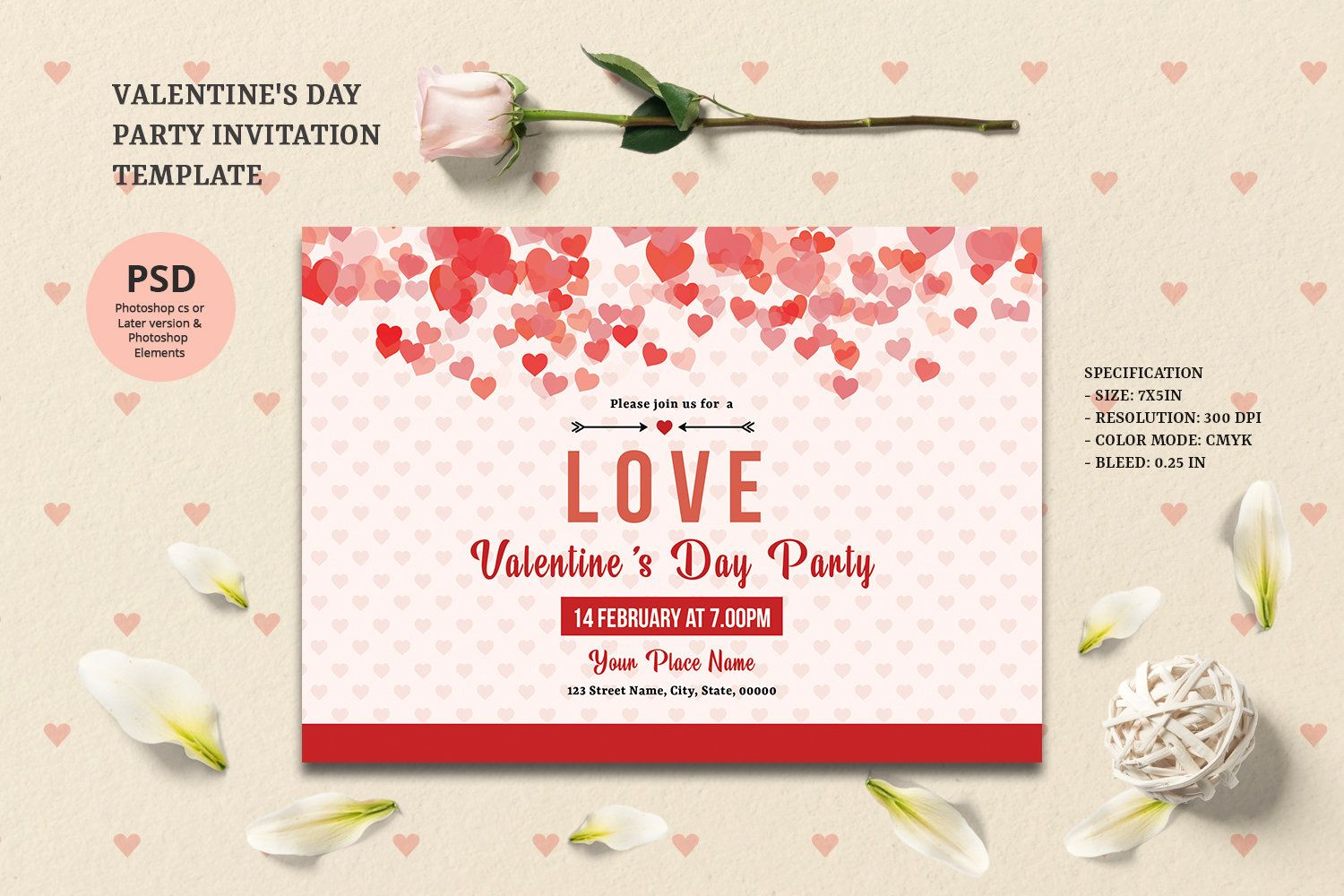 Valentines Day Party Invitation Template Valentine S Day Party Flyer Ms Word Photo Valentine Party Invitations Valentines Day Party Party Invite Template