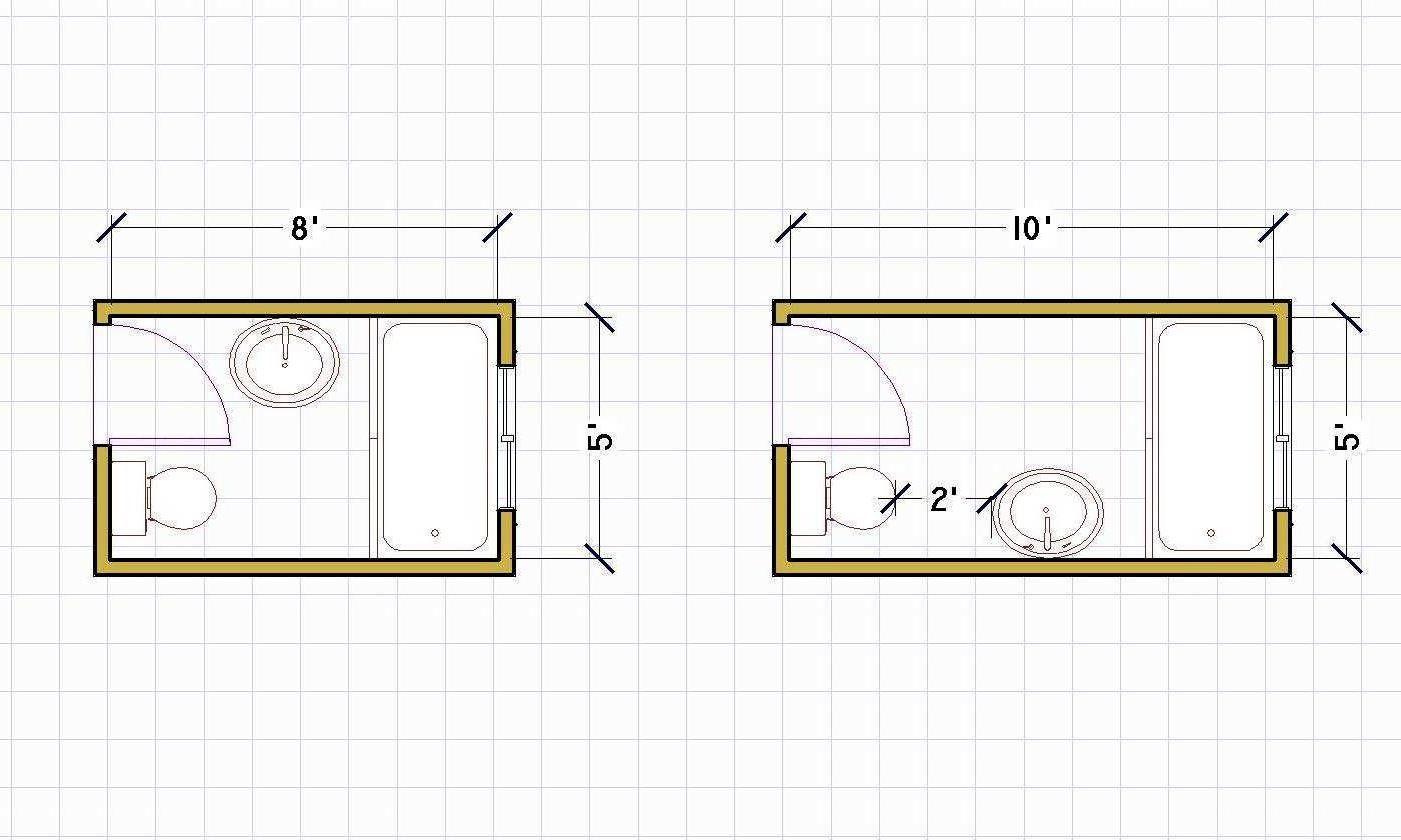 Tiny bathroom plans - Small Bathroom Floor Plans 5 X 8