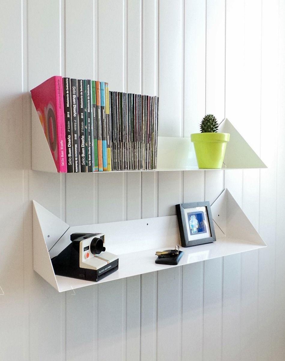 Estante flotante fox origami chapa objetos pinterest - Estantes para libros ...