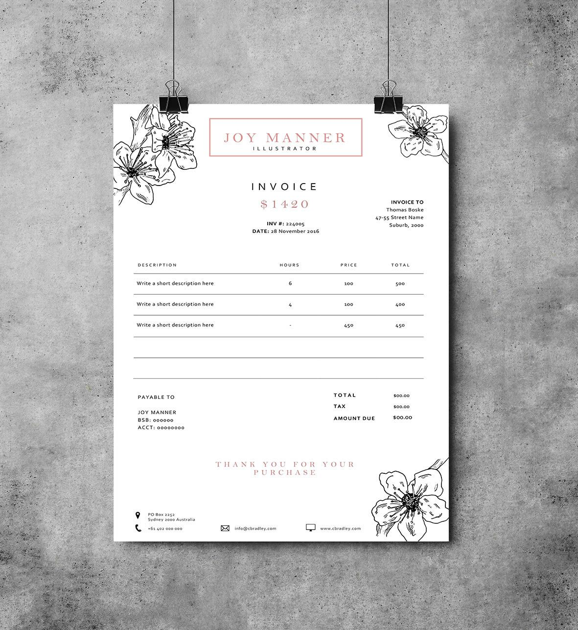 invoice template | receipt template | invoice instant download, Invoice examples