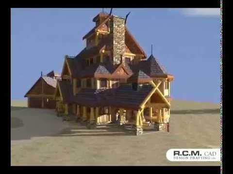 At R.C.M creating stunning log and timber designs for commercial buildings, vacation or log homes is our expertise and our passion. Enjoy this 3D view of a unique design we created - The Viking. #vacationhomes #loghomedesign #architects