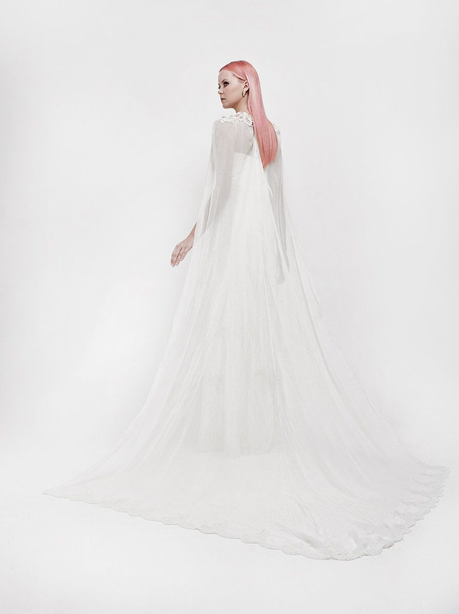 Mermaid wedding dress with detachable train  Long Wedding Cape bridal cape bridal accessories wedding dress