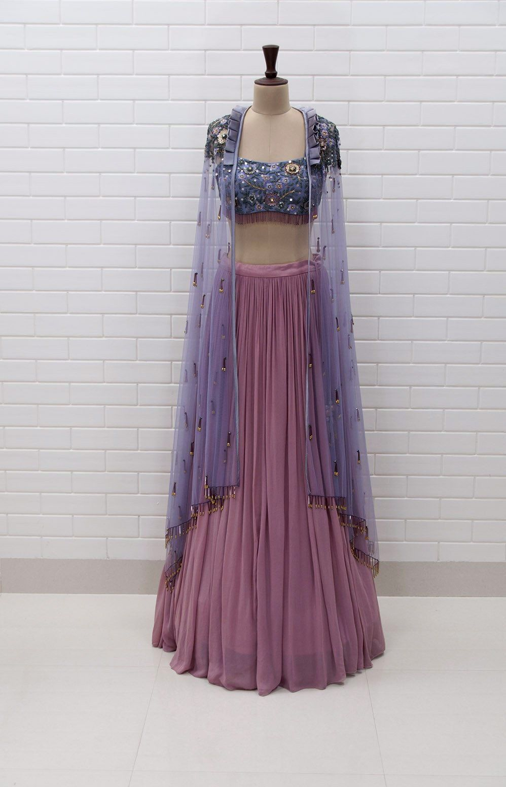 916c28bbdec9e BELLAROSA   Box collar Shoulder Jacket   Blouse in Floral Sequins and Beads  embroidery with pleated Lehenga