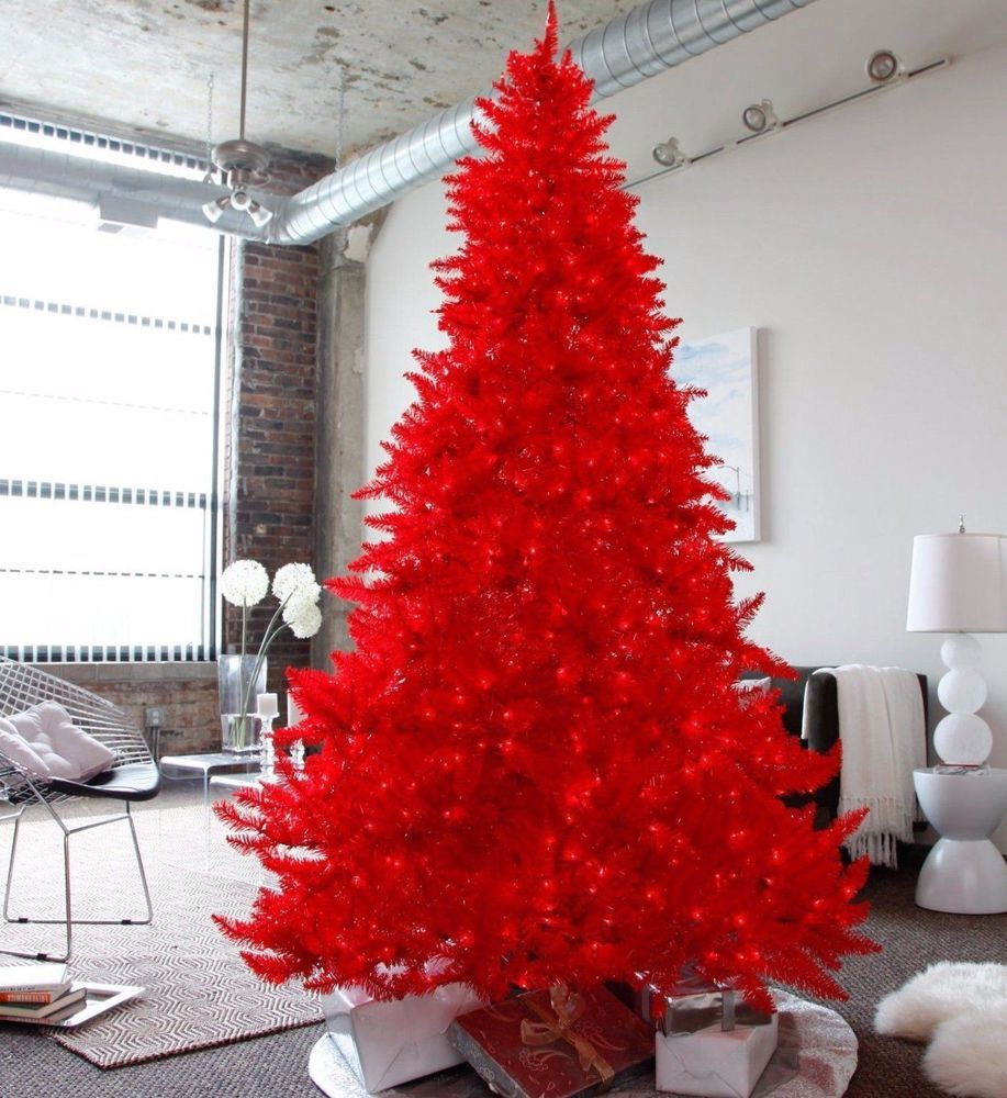 4,5 Feet Red Pre-lit Christmas Tree With Red Lights Black Stand ...