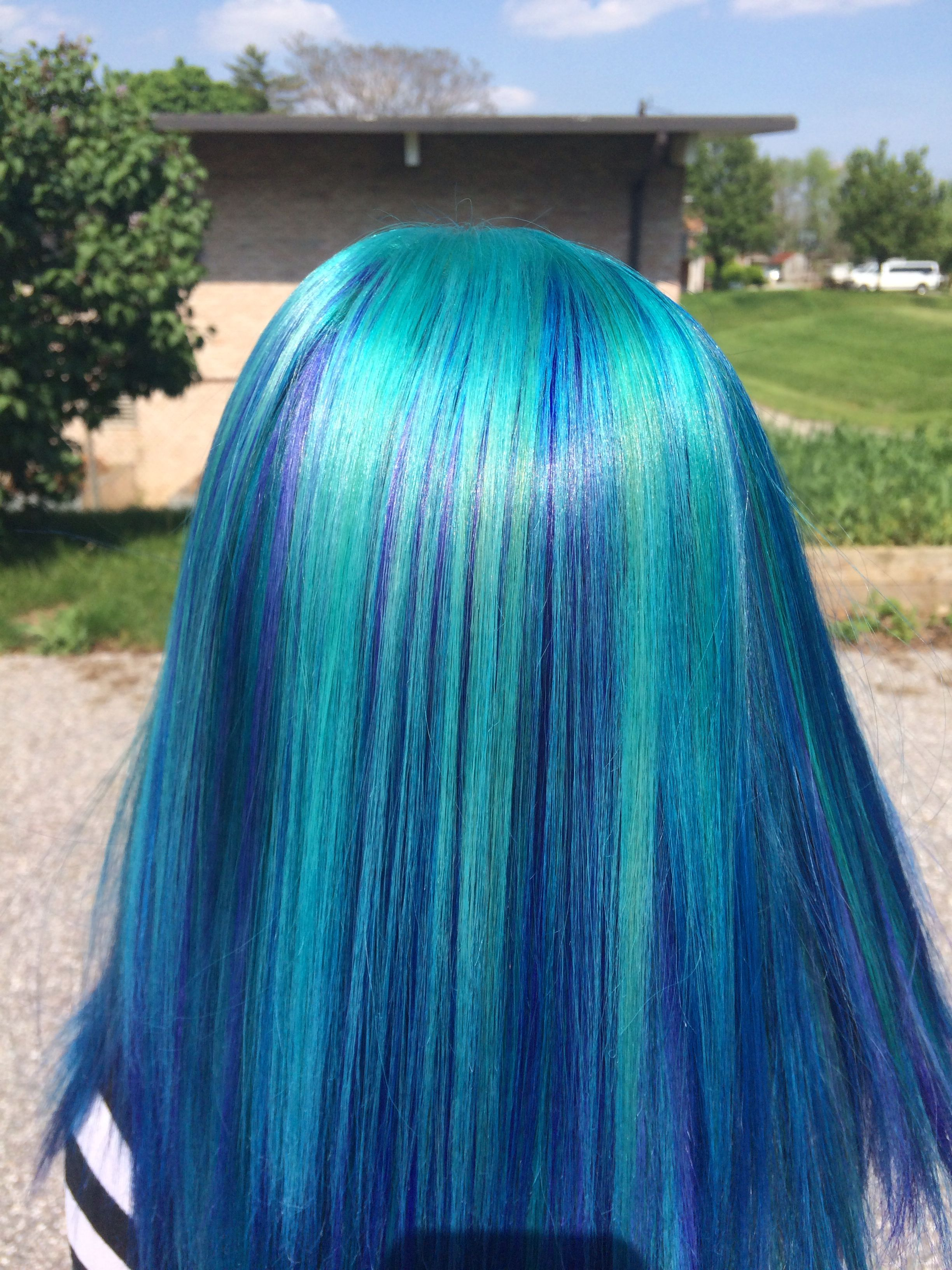 Minted blue hair color done with joico color intensities joico