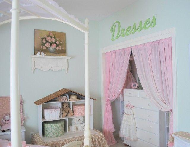 Love the curtain idea for closets.  Can make closet into secret hide out.