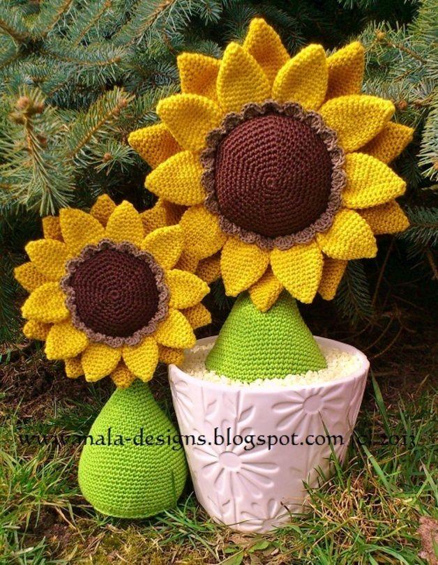 amigurumi Sonnenblume und Vögel, Häkelanleitung | Sonnenblumen ...